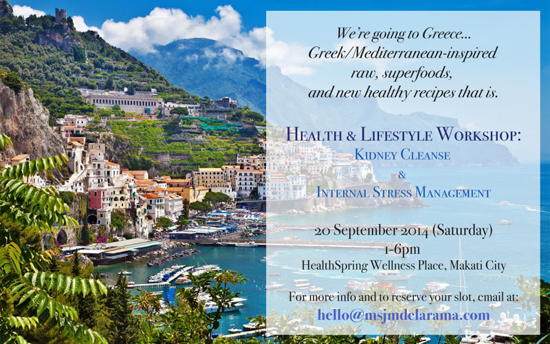 Mediterranean-inspired Health and Lifestyle Workshop (Kidney Cleanse and Internal Stress Management)