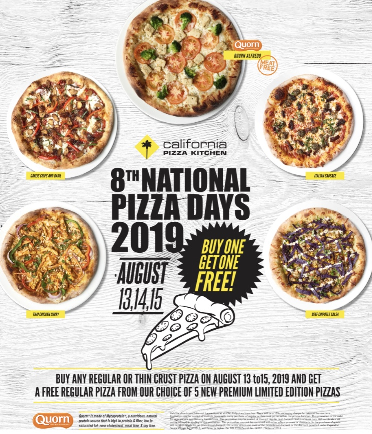 8th National Pizza Days: August 13, 14, 15, 2019 at CPK Philippines