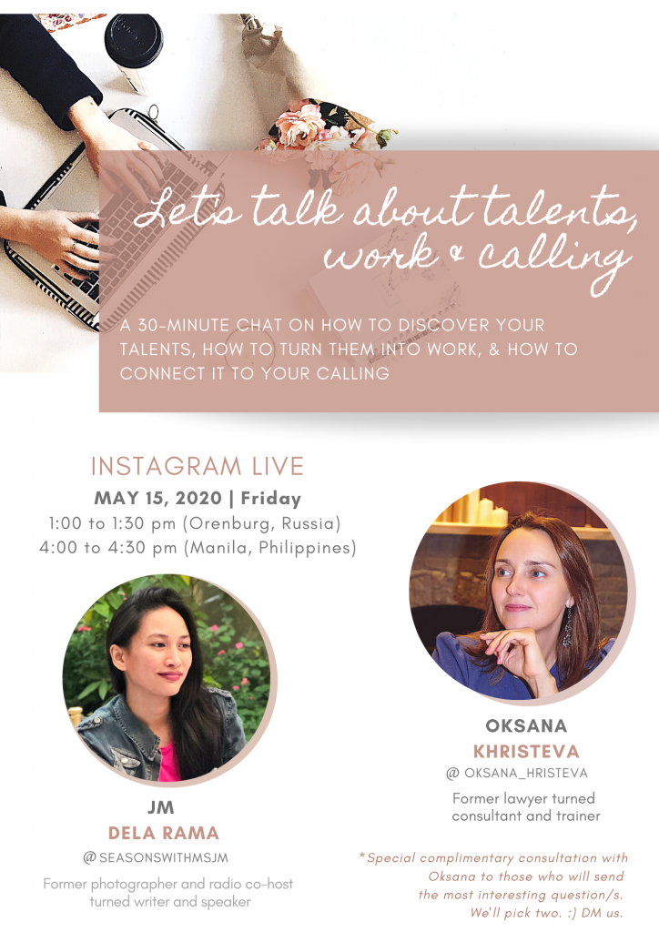 Instagram Live Poster about talents, work and calling